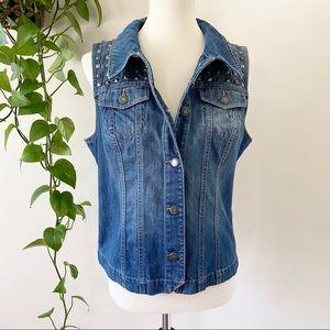 Ruff Hewn Studded Denim Button Up Jean Vest